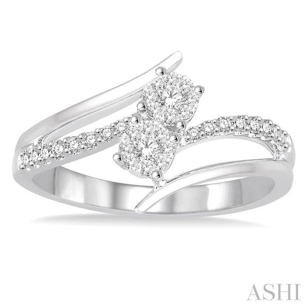 1/4 Ctw Curved Split Shank Diamond Lovebright 2Stone Ring in 14K White Gold Image 2 Seita Jewelers Tarentum, PA
