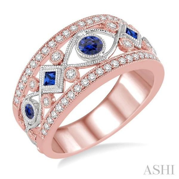 1/3 ctw Princess & Round Cut Sapphire and Diamond Precious Band in 14K Rose and White Gold Seita Jewelers Tarentum, PA