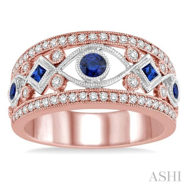 1/3 ctw Princess & Round Cut Sapphire and Diamond Precious Band in 14K Rose and White Gold Image 2 Seita Jewelers Tarentum, PA