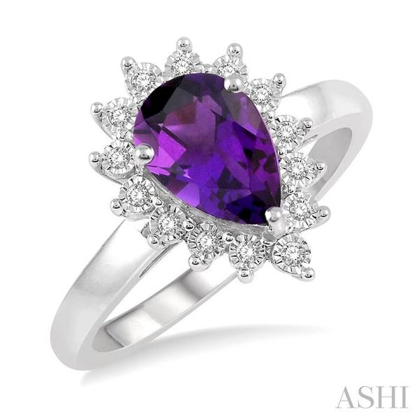 1/10 Ctw Pear Shape 9x6mm Amethyst & Round Cut Diamond Semi Precious Ring in 10K White Gold Seita Jewelers Tarentum, PA