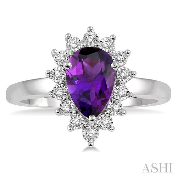 1/10 Ctw Pear Shape 9x6mm Amethyst & Round Cut Diamond Semi Precious Ring in 10K White Gold Image 2 Seita Jewelers Tarentum, PA