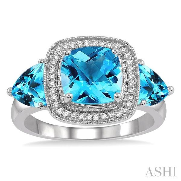 1/10 Ctw Round Cut Diamond, 8x8mm Cushion Cut and 6x6mm Trillion Cut Blue Topaz Semi Precious Ring in 10K White Gold Image 2 Seita Jewelers Tarentum, PA