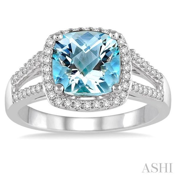 8x8 MM Cushion Cut Aquamarine and 1/4 Ctw Round cut Diamond Ring in 10K White Gold Image 2 Seita Jewelers Tarentum, PA