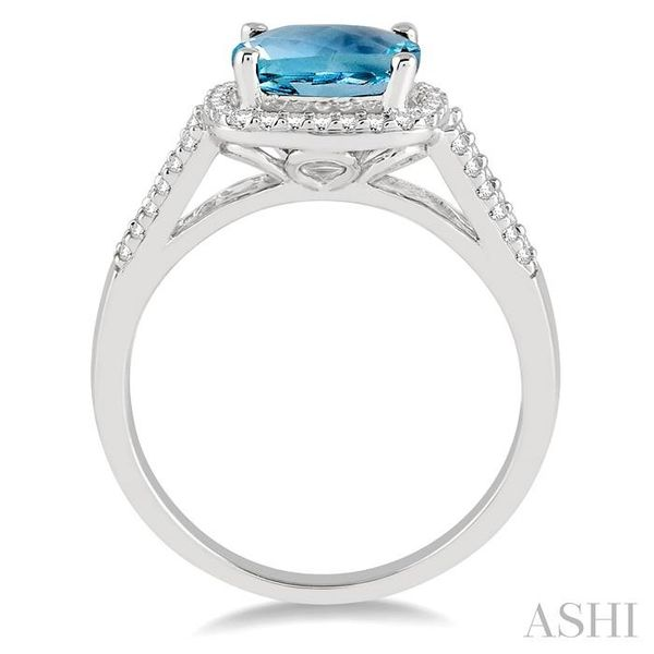 8x8 MM Cushion Cut Aquamarine and 1/4 Ctw Round cut Diamond Ring in 10K White Gold Image 3 Seita Jewelers Tarentum, PA