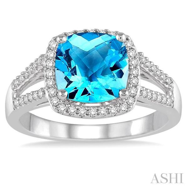 8x8 MM Cushion Cut Blue Topaz and 1/4 Ctw Round cut Diamond Ring in 10K White Gold Image 2 Seita Jewelers Tarentum, PA