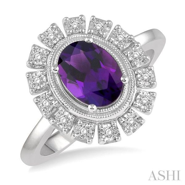 1/10 ctw Cutwork Oval Shape 8x6mm Amethyst & Round Cut Diamond Semi Precious Ring in 10K White Gold Seita Jewelers Tarentum, PA