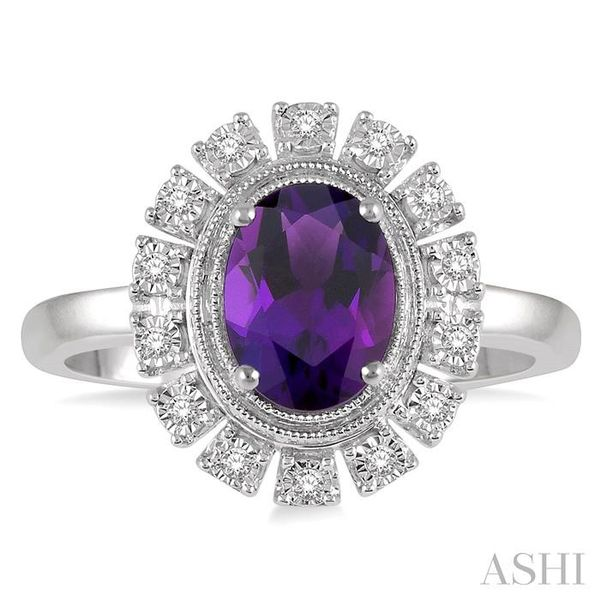 1/10 ctw Cutwork Oval Shape 8x6mm Amethyst & Round Cut Diamond Semi Precious Ring in 10K White Gold Image 2 Seita Jewelers Tarentum, PA