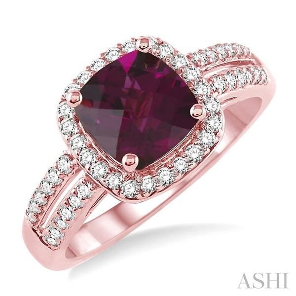 7x7 mm Cushion Cut Rhodolite Garnet and 1/3 Ctw Round Cut Diamond Ring in 14K Rose Gold Seita Jewelers Tarentum, PA