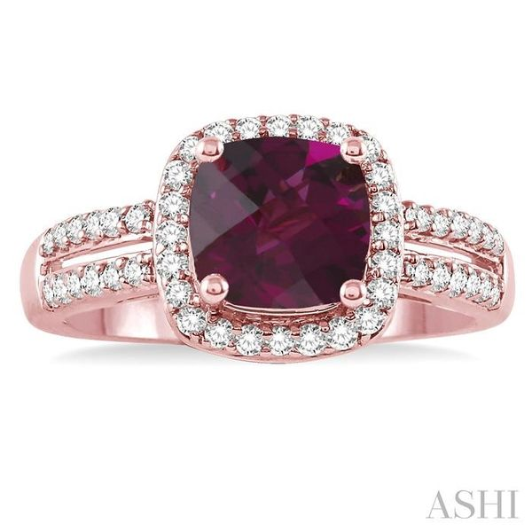 7x7 mm Cushion Cut Rhodolite Garnet and 1/3 Ctw Round Cut Diamond Ring in 14K Rose Gold Image 2 Seita Jewelers Tarentum, PA
