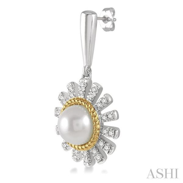 1/5 ctw Sunflower 6x6mm Pearl & Round Cut Diamond Earring in 10K White and Yellow Gold Image 3 Seita Jewelers Tarentum, PA