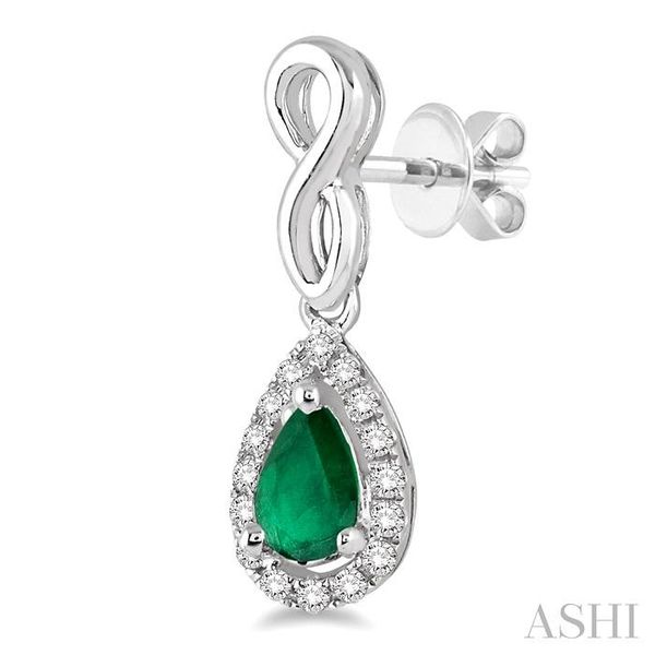 5x3 MM Pear Shape Emerald and 1/6 Ctw Round Cut Diamond Earrings in 14K White Gold Image 3 Seita Jewelers Tarentum, PA