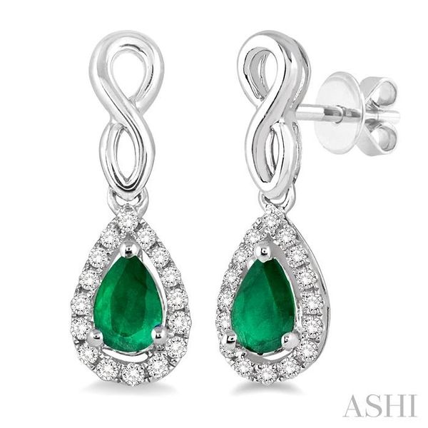 5x3 MM Pear Shape Emerald and 1/6 Ctw Round Cut Diamond Earrings in 14K White Gold Seita Jewelers Tarentum, PA