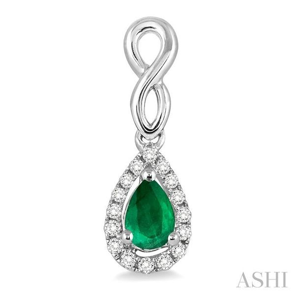 5x3 MM Pear Shape Emerald and 1/6 Ctw Round Cut Diamond Earrings in 14K White Gold Image 2 Seita Jewelers Tarentum, PA
