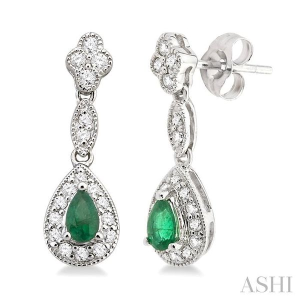 5x3MM Pear Shape Emerald and 1/3 Ctw Round Cut Diamond Earrings in 14K White Gold Seita Jewelers Tarentum, PA