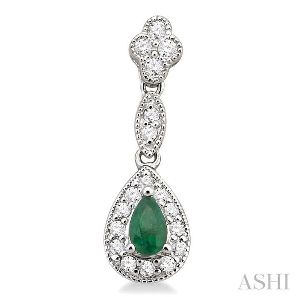5x3MM Pear Shape Emerald and 1/3 Ctw Round Cut Diamond Earrings in 14K White Gold Image 2 Seita Jewelers Tarentum, PA