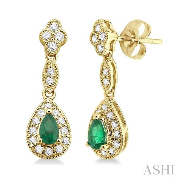 5x3MM Pear Shape Emerald and 1/3 Ctw Round Cut Diamond Earrings in 14K Yellow Gold Seita Jewelers Tarentum, PA