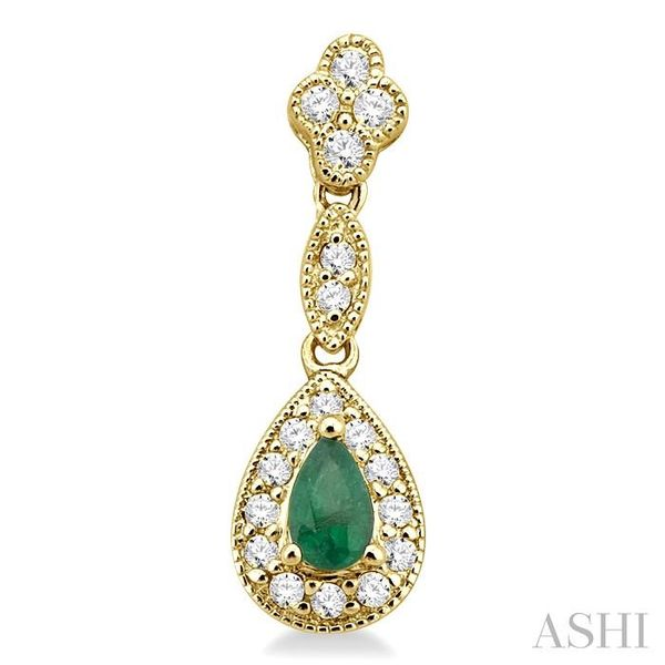 5x3MM Pear Shape Emerald and 1/3 Ctw Round Cut Diamond Earrings in 14K Yellow Gold Image 2 Seita Jewelers Tarentum, PA