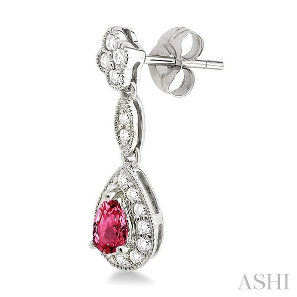 5x3MM Pear Shape Ruby and 1/3 Ctw Round Cut Diamond Earrings in 14K White Gold Image 3 Seita Jewelers Tarentum, PA
