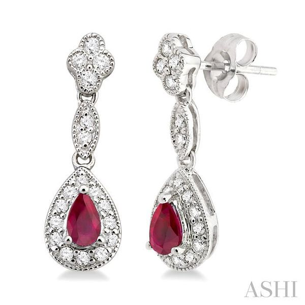 5x3MM Pear Shape Ruby and 1/3 Ctw Round Cut Diamond Earrings in 14K White Gold Seita Jewelers Tarentum, PA