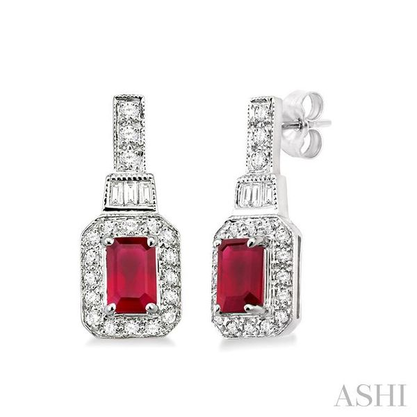 5x3 MM Octagon Cut Ruby and 1/4 Ctw Round and Baguette Cut Diamond Earrings in 14K White Gold Seita Jewelers Tarentum, PA