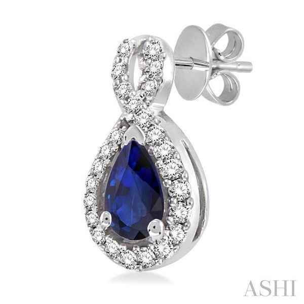 5x3mm Pear Shape Sapphire and 1/6 Ctw Round Cut Diamond Earrings in 14K White Gold Image 3 Seita Jewelers Tarentum, PA