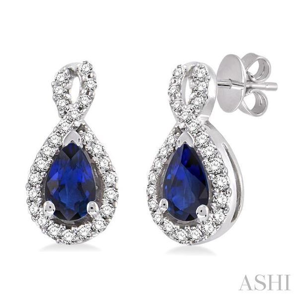 5x3mm Pear Shape Sapphire and 1/6 Ctw Round Cut Diamond Earrings in 14K White Gold Seita Jewelers Tarentum, PA