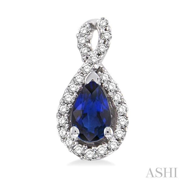 5x3mm Pear Shape Sapphire and 1/6 Ctw Round Cut Diamond Earrings in 14K White Gold Image 2 Seita Jewelers Tarentum, PA