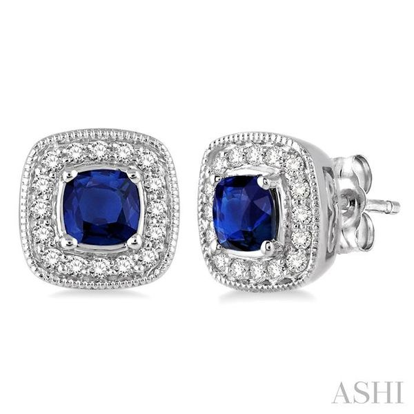 4x4 mm Cushion Cut Sapphire and 1/5 Ctw Round Cut Diamond Earrings in 14K White Gold Seita Jewelers Tarentum, PA