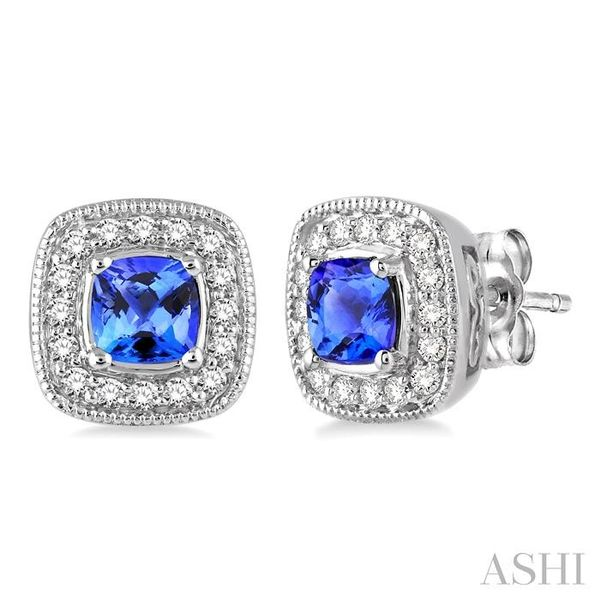 4x4 mm Cushion Cut Tanzanite and 1/5 Ctw Round Cut Diamond Earrings in 14K White Gold Seita Jewelers Tarentum, PA