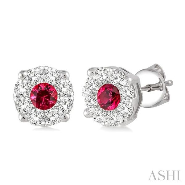 3.2 mm Round Cut Ruby and 1/2 Ctw Lovebright Diamond Earrings in 14K White Gold Seita Jewelers Tarentum, PA