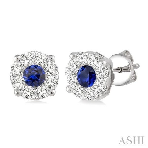 3.2 mm Round Cut Sapphire and 1/2 Ctw Lovebright Diamond Earrings in 14K White Gold Seita Jewelers Tarentum, PA