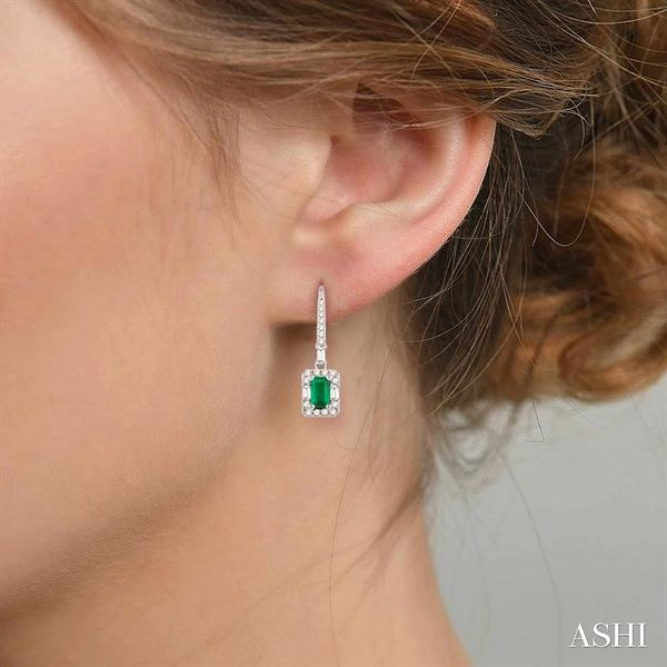 5x3 MM Octagon Cut Emerald and 1/2 Ctw Round Cut Diamond Earrings in 14K White Gold Image 4 Seita Jewelers Tarentum, PA