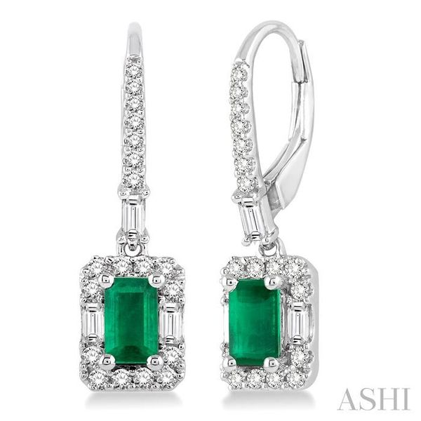 5x3 MM Octagon Cut Emerald and 1/2 Ctw Round Cut Diamond Earrings in 14K White Gold Seita Jewelers Tarentum, PA