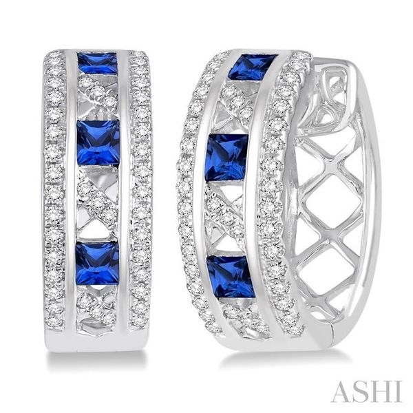 2.4x2.4 MM Princess Cut Sapphire and 1/3 Ctw Round Cut Diamond Earrings in 14K White Gold Seita Jewelers Tarentum, PA