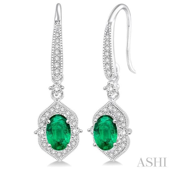 5x3 MM Oval Shape Emerald and 1/3 Ctw Round Cut Diamond Earrings in 14K White Gold Seita Jewelers Tarentum, PA