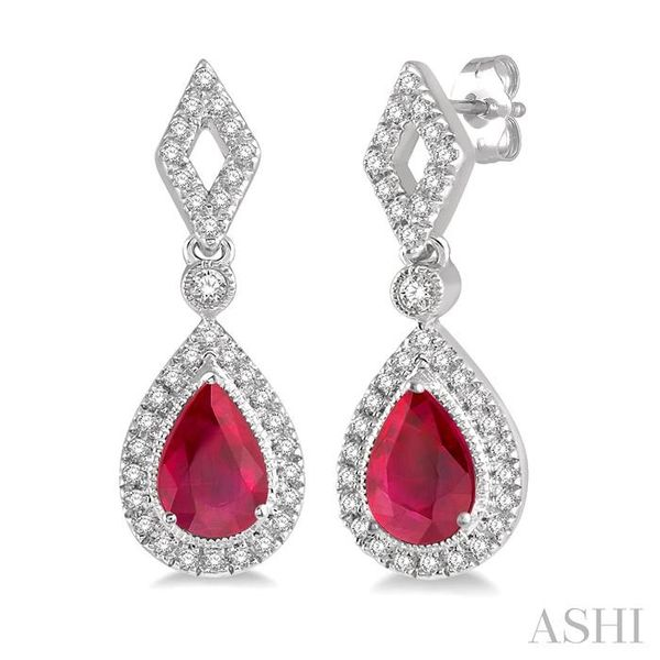 1/5 ctw Pear Shape 5x3mm Ruby & Round Cut Diamond Precious Earring in 10K White Gold Seita Jewelers Tarentum, PA