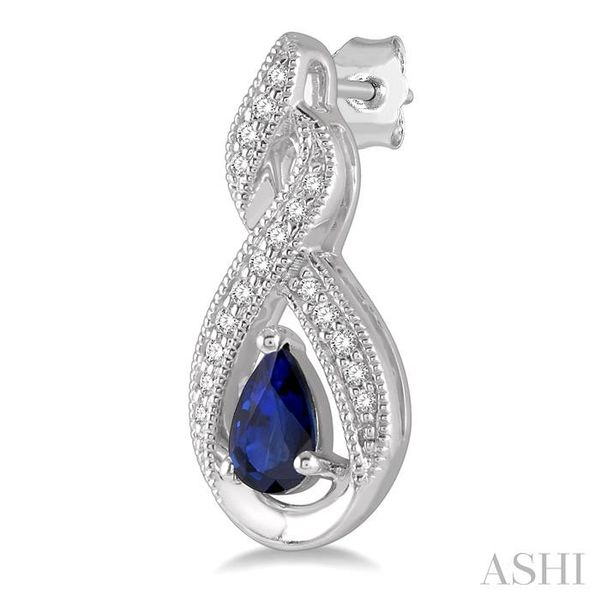 1/8 ctw Entwined Pear Shape 5x3mm Sapphire & Round Cut Diamond Precious Earring in 10K White Gold Image 3 Seita Jewelers Tarentum, PA