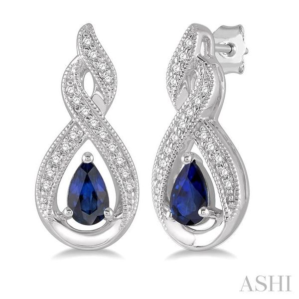 1/8 ctw Entwined Pear Shape 5x3mm Sapphire & Round Cut Diamond Precious Earring in 10K White Gold Seita Jewelers Tarentum, PA