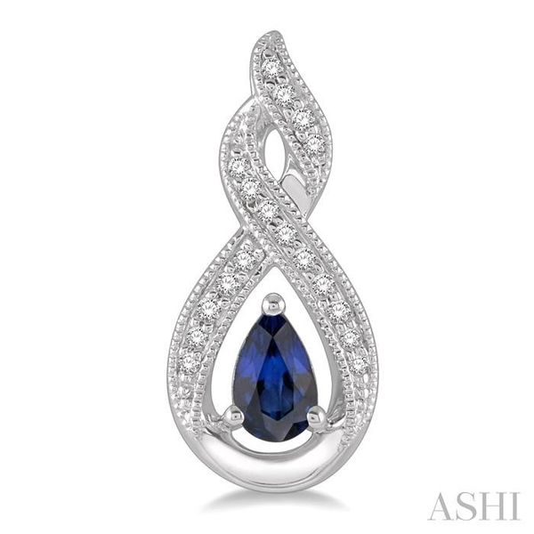 1/8 ctw Entwined Pear Shape 5x3mm Sapphire & Round Cut Diamond Precious Earring in 10K White Gold Image 2 Seita Jewelers Tarentum, PA
