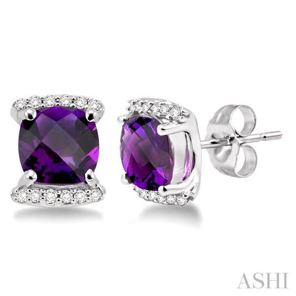 6x6MM Cushion Cut Amethyst and 1/10 Ctw Round Cut Diamond Earrings in 14K White Gold Seita Jewelers Tarentum, PA