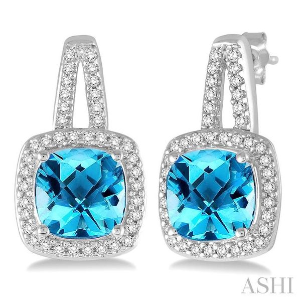 7x7 MM Cushion Cut Blue Topaz and 1/4 Ctw Round Cut Diamond Earrings in 10K White Gold Seita Jewelers Tarentum, PA