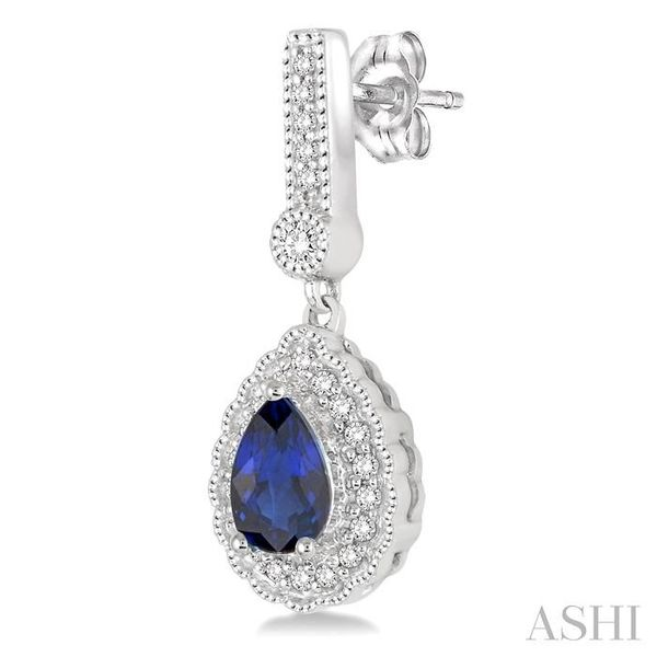 6x4 Pear Shape Sapphire and 1/4 Ctw Round Cut Diamond Earrings in 14K White Gold Image 3 Seita Jewelers Tarentum, PA