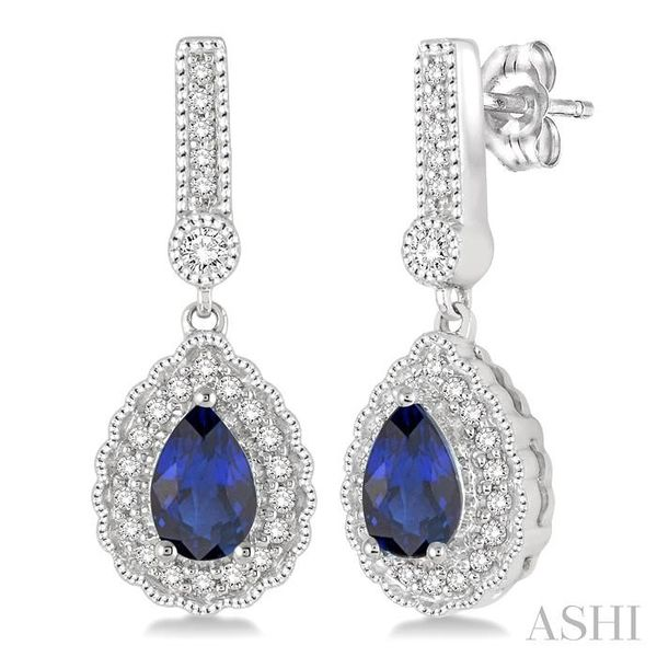 6x4 Pear Shape Sapphire and 1/4 Ctw Round Cut Diamond Earrings in 14K White Gold Seita Jewelers Tarentum, PA
