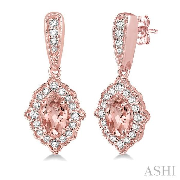 1/4 Ctw Oval Shape 5x3mm Morganite & Round Cut Diamond Semi Precious Earrings in 10K Rose Gold Seita Jewelers Tarentum, PA