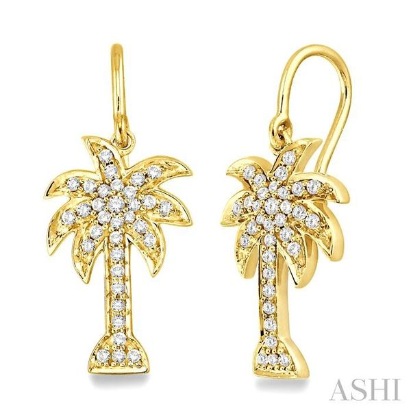 1/2 Ctw Round Cut Diamond Palm Tree Earrings in 14K Yellow Gold Seita Jewelers Tarentum, PA
