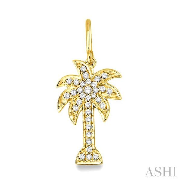 1/2 Ctw Round Cut Diamond Palm Tree Earrings in 14K Yellow Gold Image 2 Seita Jewelers Tarentum, PA
