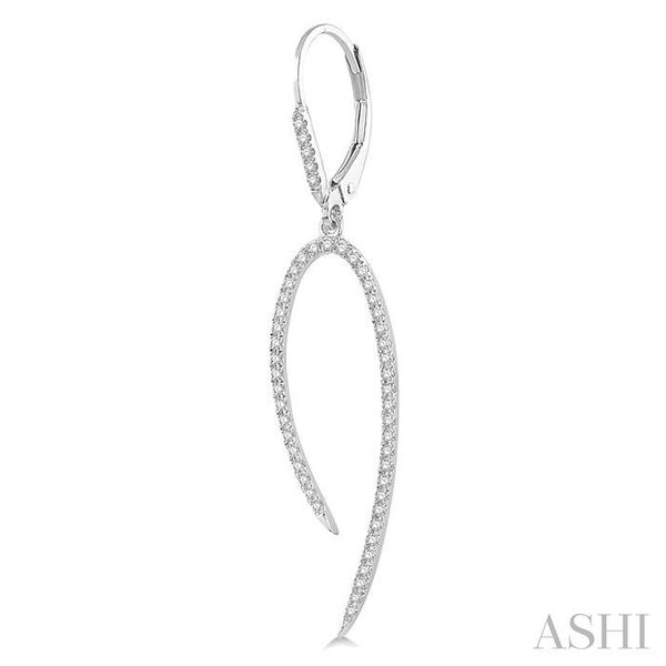 1/2 Ctw Hook Shape Dangler Round Cut Diamond Fashion Long Earrings in 14K White Gold Image 3 Seita Jewelers Tarentum, PA