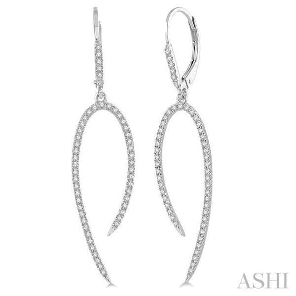 1/2 Ctw Hook Shape Dangler Round Cut Diamond Fashion Long Earrings in 14K White Gold Seita Jewelers Tarentum, PA
