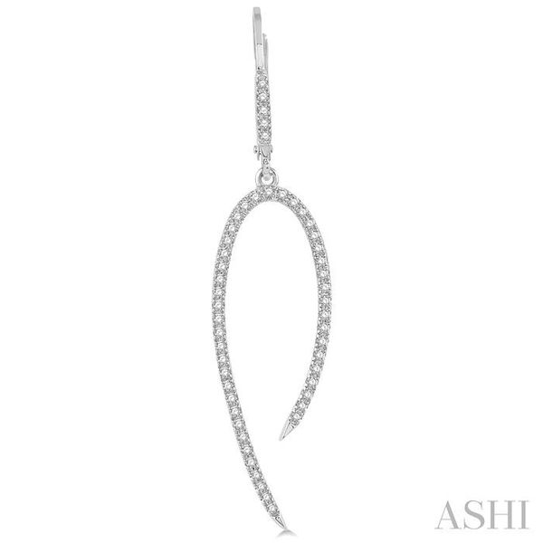 1/2 Ctw Hook Shape Dangler Round Cut Diamond Fashion Long Earrings in 14K White Gold Image 2 Seita Jewelers Tarentum, PA