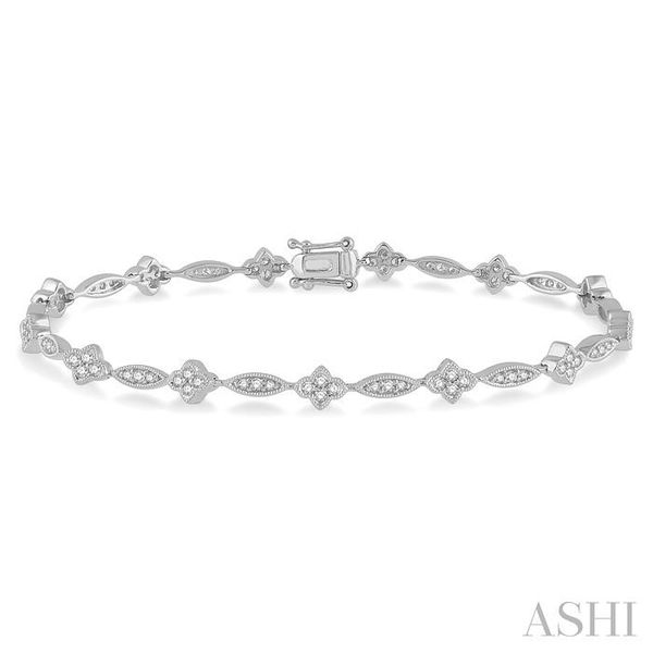 1 1/10 Ctw Marquise and Floral Link Diamond Bracelet in 14K White Gold Seita Jewelers Tarentum, PA